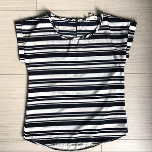 Olive & Oak Short Sleeve Striped Blouse